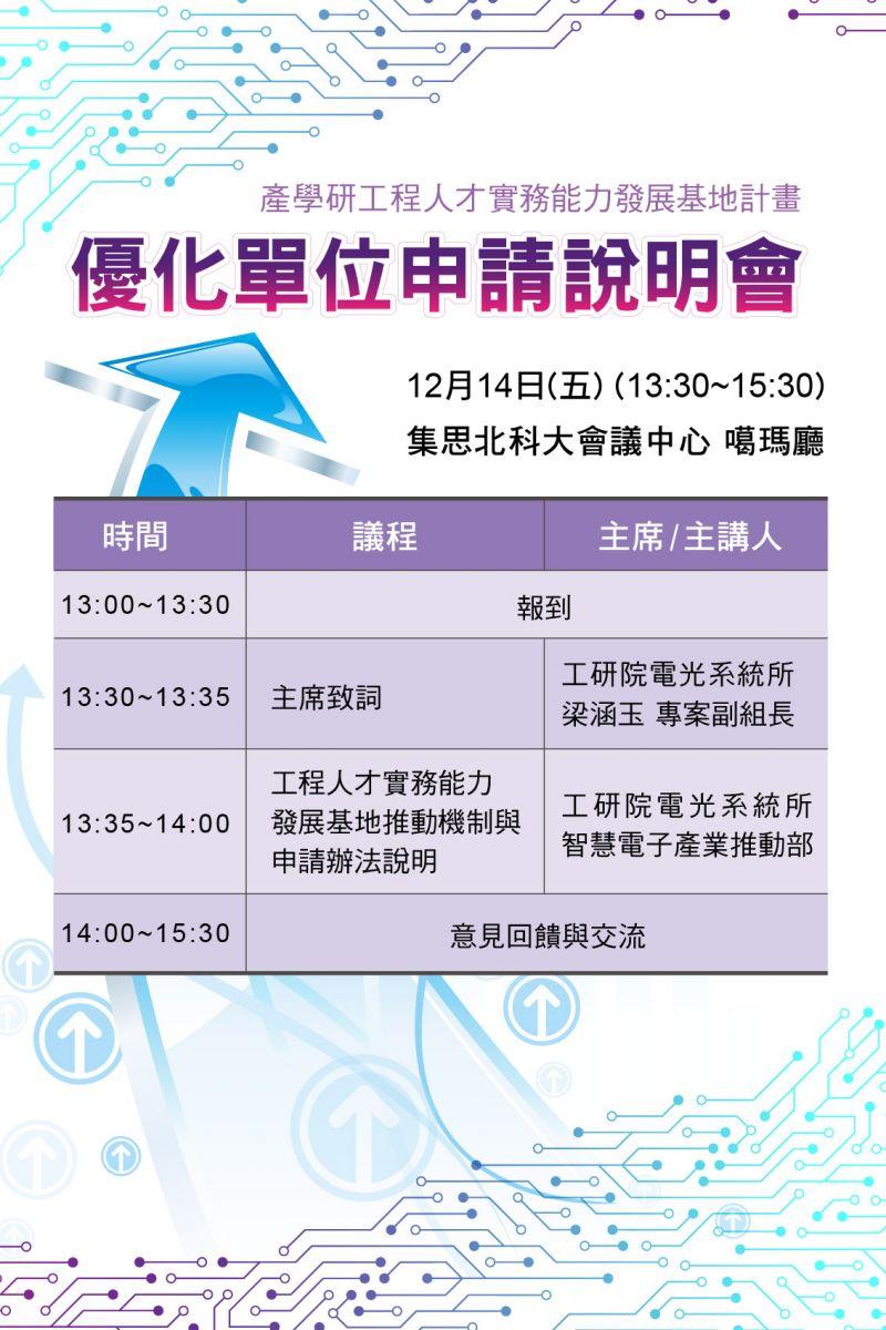 產學研工程人才實務能力發展基地計畫-優化單位申請說明會議程